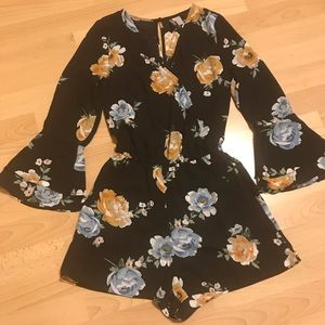 Divided long sleeve floral romper